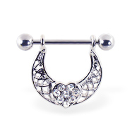 Nipple ring with swinging jeweled heart on arc, 14 ga