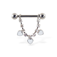 Nipple ring with dangling jeweled chain and white hearts, 12 ga or 14 ga