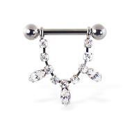 Nipple ring with dangling jeweled chain and pear-shaped gems, 12 ga or 14 ga