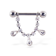 Nipple ring with dangling jeweled chain and teardrop gems, 12 ga or 14 ga