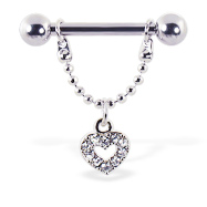 Nipple ring with dangling jeweled heart, 12 ga or 14 ga