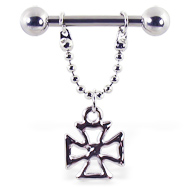 Nipple ring with dangling cross, 12 ga or 14 ga
