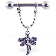 Nipple ring with dangling dragonfly, 12 ga or 14 ga
