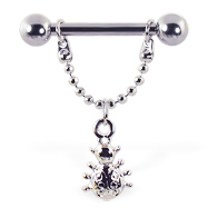 Nipple ring with dangling ladybug, 12 ga or 14 ga