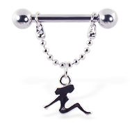 Nipple ring with dangling trucker girl, 12 ga or 14 ga