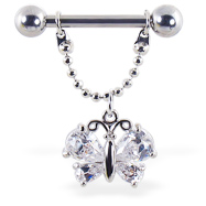 Nipple ring with dangling jeweled butterfly on chain, 12 ga or 14 ga