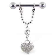 Nipple ring with dangling chain and heart, 12 ga or 14 ga