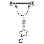 Nipple ring with dangling chain and stars, 12 ga or 14 ga