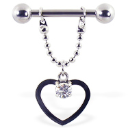 Nipple ring with dangling hollow heart and gem on a chain, 12 ga or 14 ga