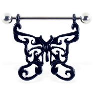 Nipple ring with large black dangling butterfly, 14 ga