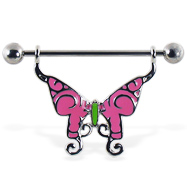 Pink butterfly nipple ring, 14 ga