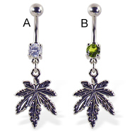 Belly ring with dangling upside down pot leaf