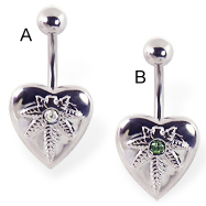 Heart belly ring with pot leaf logo and gem