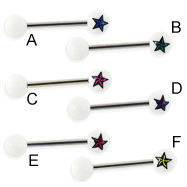 Nautical star logo straight barbell, 14 ga