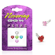 Sterling silver nose pin pack with heart assorted colored gems, 20 ga