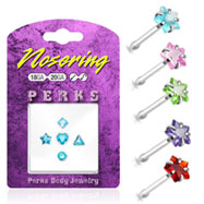 Sterling silver nose pin pack with 5 assorted shapes, 20 ga