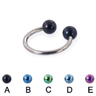 Titanium circular barbell with colored balls, 16 ga