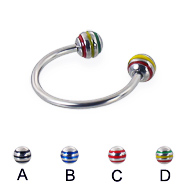 Circular barbell with epoxy striped balls, 16 ga