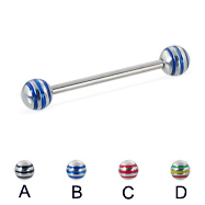 Straight barbell with epoxy striped balls, 16 ga