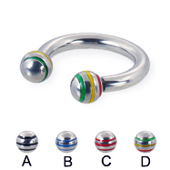 Circular barbell with epoxy striped balls, 10 ga