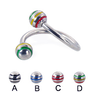 Twisted barbell with epoxy striped balls, 14 ga