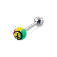 Jamaican styled straight barbell with peace sign, 14 ga