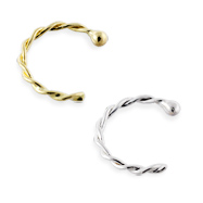14K Gold Twisted Nose Hoop