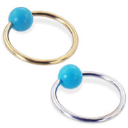 14K Gold Captive Ring with Turquoiseball