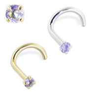 14K Gold Nose Screw with Iolite, 20 Ga