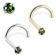 14K Gold Nose Screw with Green Tourmaline, 20 Ga