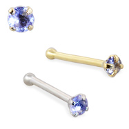 14K Gold Nose Bone with Iolite, 22 Ga