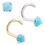 14K Gold Nose Screw with 2mm Round Turquoise