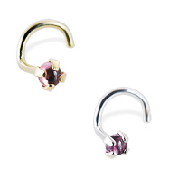 14K Gold Nose Screw with 2mm Round Cabochon Pink Tourmaline