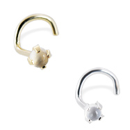 14K Gold Nose Screw with 2mm Round Cabochon Moonstone