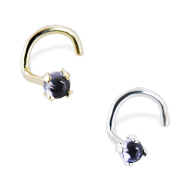 14K Gold Nose Screw with 2mm Round Cabochon Iolite