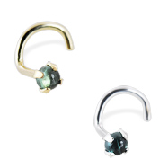 14K Gold Nose Screw with 2mm Round Cabochon Green Tourmaline, 20 Ga