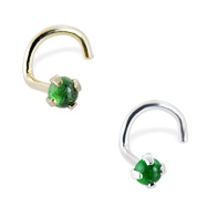 14K Gold Nose Screw with 2mm Round Cabochon Emerald