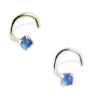 14K Gold Nose Screw with 2mm Round Cabochon Blue Onyx