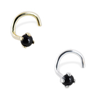 14K Gold Nose Screw with 2mm Round Cabochon Black Onyx