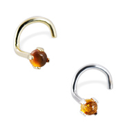 14K Gold Nose Screw with 2mm Round Cabochon Amber, 20 Ga