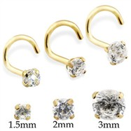 14K Gold Nose Screw With Round CZ