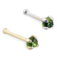 14K Gold Nose Bone with 2mm Round Cabochon Green Tourmaline, 22 Ga