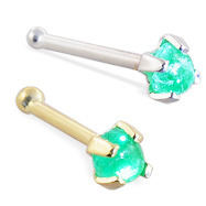 14K Gold Nose Bone with 2mm Round Cabochon Emerald