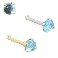 14K Gold Nose Bone with 2mm Round Cabochon Aquamarine