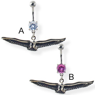Navel ring with dangling bird with long wings