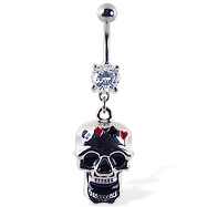 Navel ring with dangling skull with suits