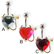 Heart navel ring with devil horns and tail