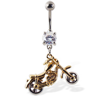 Navel ring with dangling gold colored motorcycle