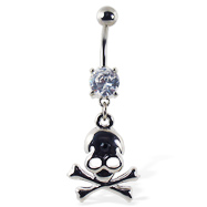 Navel ring with dangling skull and crossbones