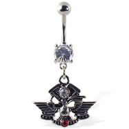 Navel ring with dangling eagle logo